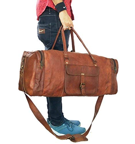 Leather 24 Inch Square Duffel Travel Gym Sports Overnight Weekend Leather Bag BY VINTAGE COUTURE