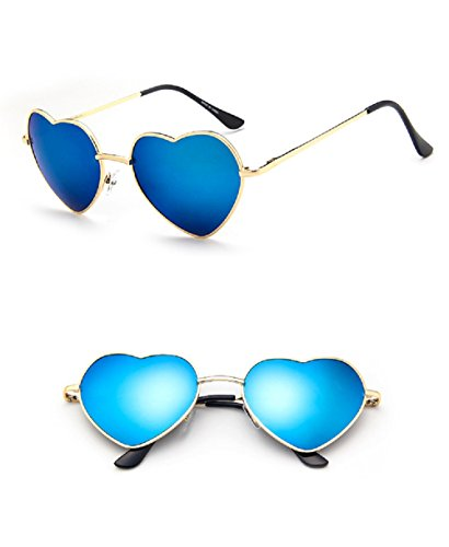 Chezi Women's Metal Colorful Iridium Coated Lens Heart Sunglasses (gold, blue - Sunglasses Aviator Heart