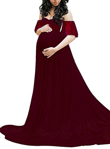 (Maternity Photography Props Floral Lace Dress Fancy Pregnancy Gown for Baby Shower Photo Shoot (L, Wine red))