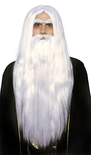 Mememall Merlin Magician Wig Beard Set Father Time White Wizard Men Costume