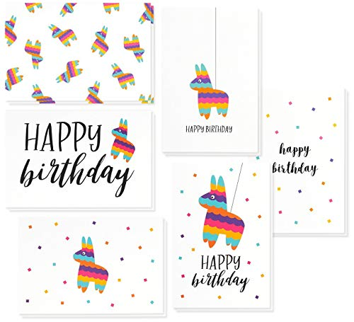 - Birthday Card - 48-Pack Birthday Cards Box Set, Happy Birthday Cards - Pinata Designs Birthday Card Bulk, Envelopes Included, 4 x 6 Inches