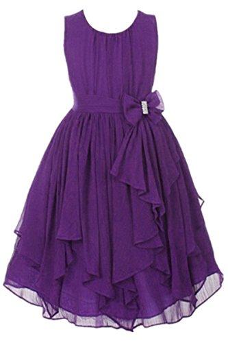 YMING Little Girls Chiffon High Waist Dress Bow Flowers Girls Princess Dresses 5-6Years Dark (Dark Purple Flower)