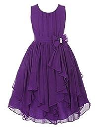 5cd822126b1 YMING Big Girl Kids Sleeveless Asymmetric Chiffon Flower Party Bridesmaid  Dress