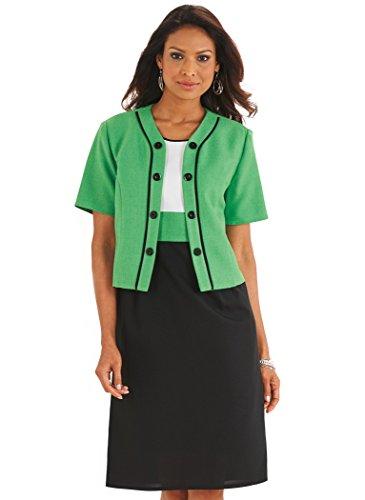 Color Block Amerimark Nero Verde Giacca Vestito E7w5ZZ