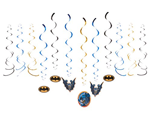 DesignWare Batman Swirl Decoration, 12 Pieces, Made from Foil/Paper, Multicolor, by (Design Cardboard Knight Costume)