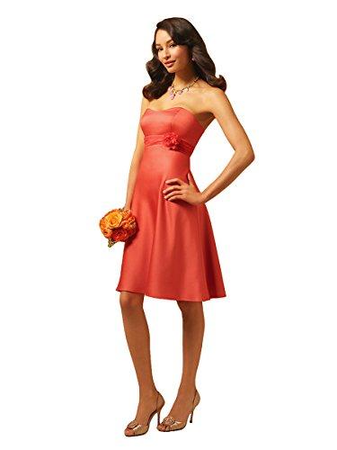 Alfred Angelo 7074 Strapless Satin Empire Waist Short A-Line Formal Dress (12, (Alfred Angelo Formal Dress)