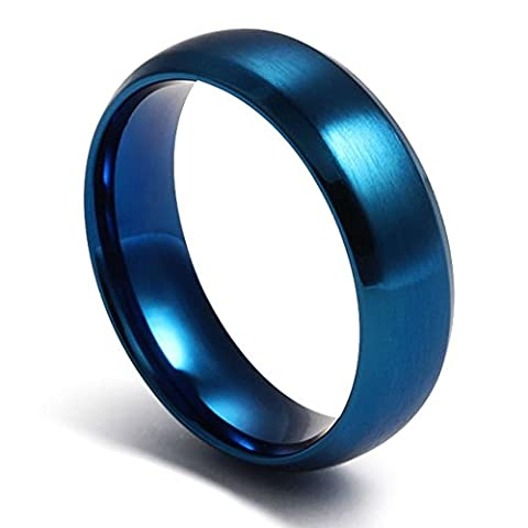 Mens Womens Blue Stainless Steel Plain Wedding Band Ring Jewelry Matte Surface,Polished,Size 7 - Anello Lucido