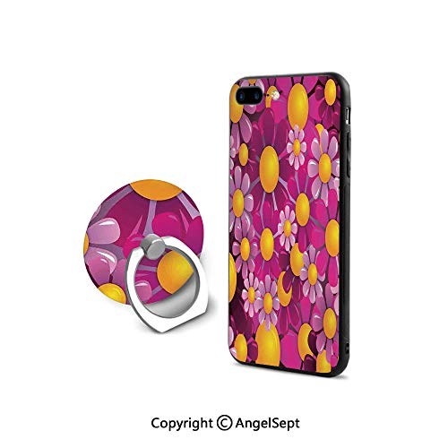 (Protective Case Compatible iPhone 7/8 with 360°Degree Swivel Ring,Flowers Cartoon Summertime Garden Happy Cheering Flourish Decorative,Shock-Absorption Bumper,)