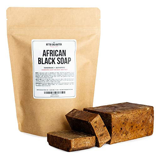 African Black Soap - Use as a Body and Face Wash - Melt the Bar to Make Liquid Soap or Shampoo - Contains Moisturizing Unrefined Shea Butter - 16 oz by Better Shea Butter