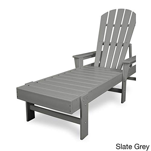 POLYWOOD Shell Back Chaise Lounge Finish Slate Grey