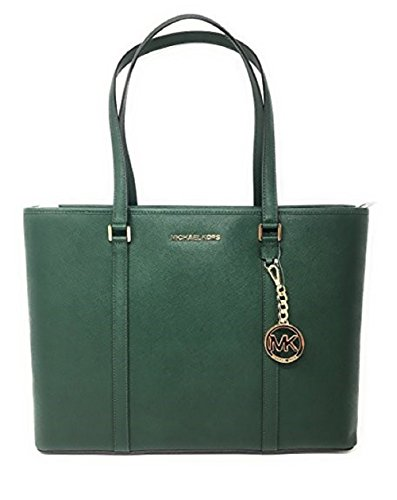Michael Kors Sadie Large Top Zip Tote Leather Shoulder Bag Moss by Michael Kors