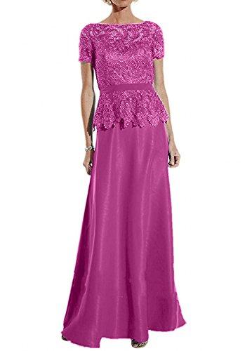Festliche mit Partykleider Damen Neu Abendkleider Blau Pink Spitze Damen Brautmutterkleider Kurzarm Charmant Langes xz4wB4f