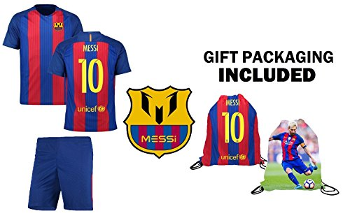 Messi Barcelona Shirt - Fan Kitbag Messi #10 Barcelona Youth Home/Away Soccer Jersey & Shorts Kids Premium Gift Kitbag ✮ BONUS Messi #10 Drawstring Backpack (YS 6-8 Years, Short Sleeve w/Jersey Bag)