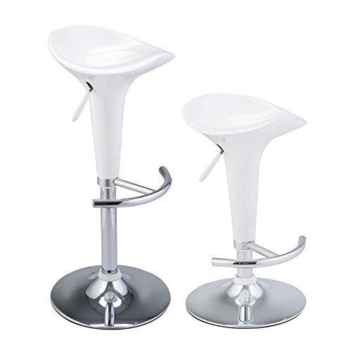 Set of 2 Modern Bombo Style Swivel Barstools Adjustable Counter Chair Bar Stools White