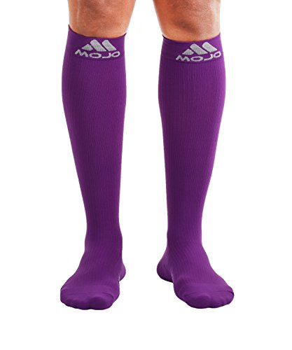 Mojo Compression Socks – Comfortable Coolmax Material for Recovery & Performance. Medical Support Socks - Firm Support, Size Large,Purple-Compression stockings for women & Compression socks for men