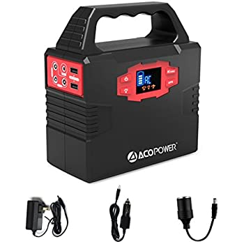 ACOPOWER 150Wh/40,800mAh Portable Generator Power Supply Solar Energy Storage Lithium ion Battery with AC Power Inverters 110V/60Hz, USB Ports 5V/3A, DC Ports 9~12.6V/15A, Charged by AC/Solar Panels