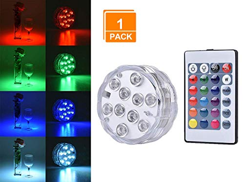 Light Water - Browill [1Pack Submersible LED Lights, 10 RGB LEDs 16 Colors Waterproof Underwater Lights with 1 Remote Control for Aquarium Vase Base Pond Pool Garden Home Party Wedding Christmas Decoration