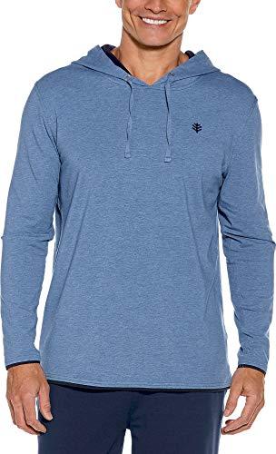 Bamboo Jacket Mens - Coolibar UPF 50+ Men's Oasis Pullover Hoodie - Sun Protective (Medium- Pacific Blue Heather)