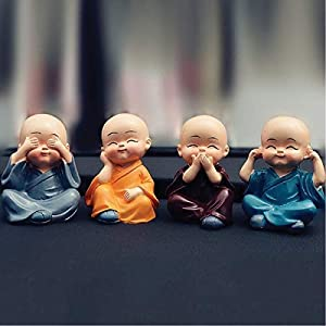 "Tirupati99â""¢ Plastic Baby Monks Figurines Multicolour, 4 Pieces"