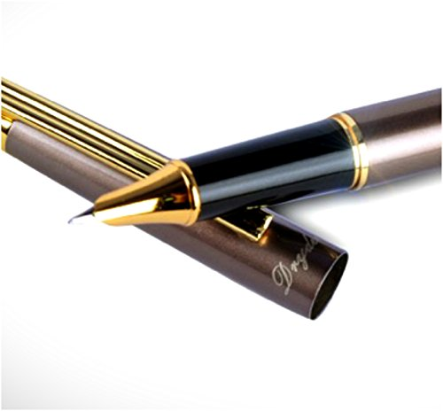 Dryden Luxury Fountain Pen with Gift Case | Fine Nib | Executive Fountain Pens Set | Ink Refill Converter | Business Gift Pen | Luxury Pens Collection | Complimentary Matching Ballpoint Pen (Penmanship Fountain Pen)