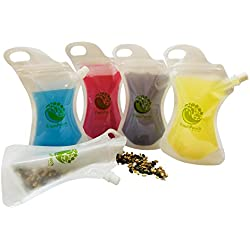 Food & Drink Pouch Container: Heavy Duty, Sealable, Reusable Translucent Plastic Drinking & Storage Pouches for Water, Juice, Smoothies, Candy, Organic Food & More (10 pack)