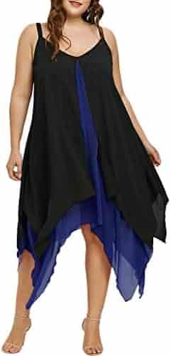 e8abc8de1b0 Women Plus Size Chiffon V-Neck Solid Insert Layered High Low Sleeveless  Dress