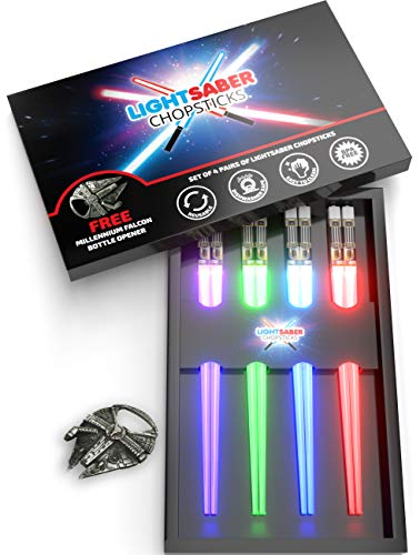 Lightsaber Chopsticks Reusable   Star Wars Gifts and Toys for Kids   LED Light Up Dishwasher Safe Chopstick   Fun Kitchen and Sushi Accessories   Chop Sticks Light Saber   4 PAIRS & FREE BOTTLE OPENER