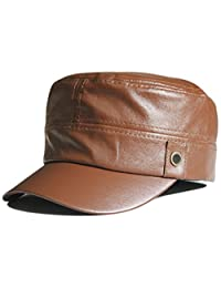 Gumstyle Military Army Ventilate Leather Hat Cap Flat Top Solid Color