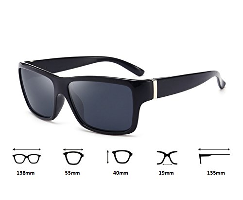 polarisé épais carré Mat ébdJtbAmThVtsement de soleil Gris Classique cadre bloc conduite de lunettes Hellomiko Noir lunettes qSnIxCw