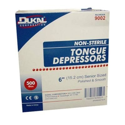 Tongue Depressors, Non-Sterile, Adult, 6
