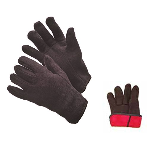 1 Dozen 12 Pairs Brown Jersey Gloves with Red Fleece Lining SIZE: MEN -