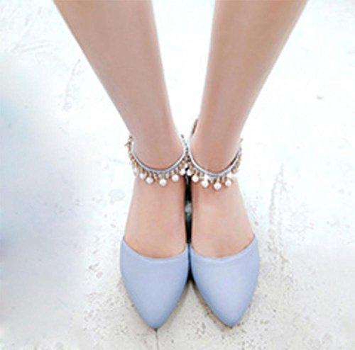 Verano Mujeres Sandalias Cuentas Shallow boca hembra cool toalla cabeza plana con zapatos, days blue