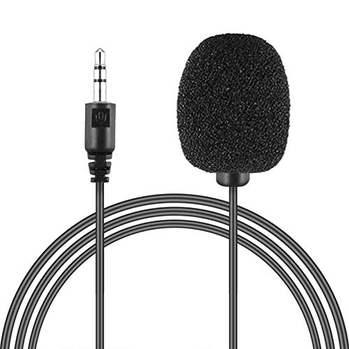 N/V Portable External 3.5mm Hands-Free Mini Wired Collar Clip Lapel Lavalier Microphone For PC Laptop Lound Speaker(black)