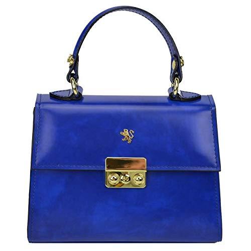 Pratesi Italian Leather Artemisia Womens Shoulder Handbag Purse Radica Collection, Electric Blue