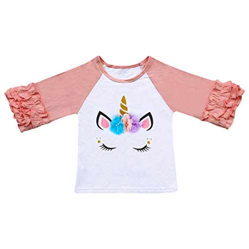 Baby Girls Toddler Unicorn Icing Ruffle Shirts 3/4 Sleeve Ruffles T-Shirt Top Layering Raglan Tee Baseball School Undershirt Kids Playwear Valentine's Day Love Outfits 1st Easter Boutique Clothes