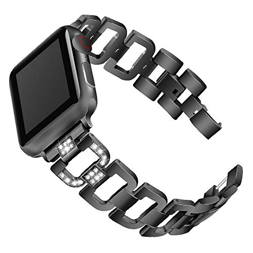 (BabiQ Crystal Stainless Steel Replacement Watch Band Wrist Strap Bracelet for Apple Watch Series 4 44mm (Black))