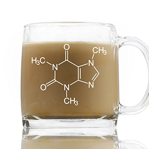 Caffeine Molecule 13 Ounce Coffee Mug, Novelty Chemistry Coffee Glass, Friend Birthday Gift Science - Molecule Caffeine Mug