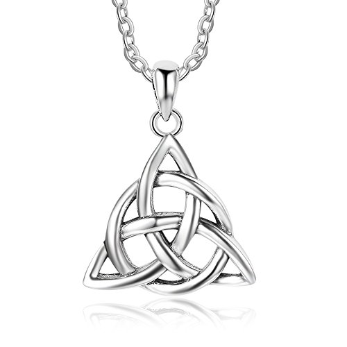 Kalapure 925 Sterling Silver Oxidized Irish Celtic Knot Triquetra Trinity Triangle Pendant Necklaces for Women Birthday Gift ()