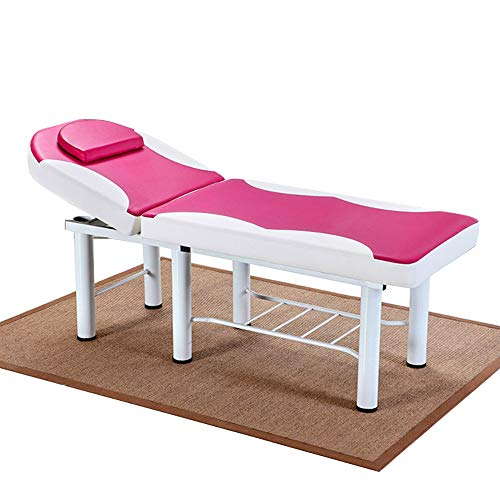 JHAIB New Professional Massage Bed Spa Bed PU Table Facial Solon Spa Tattoo Bed Spa Facial Pink and white