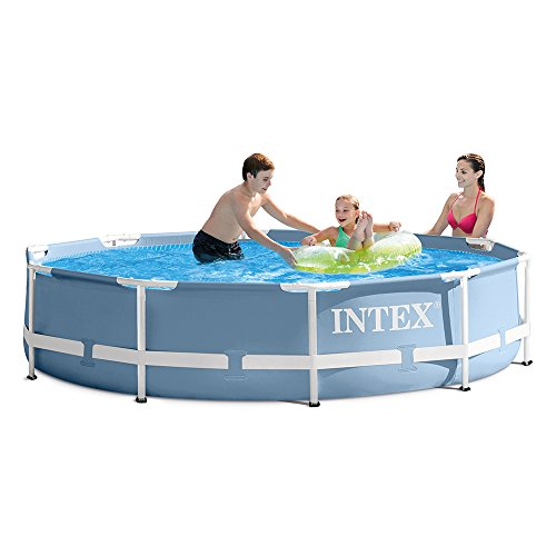 INTEX 10ft X 30in Prism Frame Pool Set with Filter Pump (Swimming Frame Pools Metal)