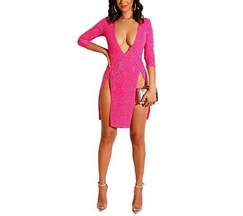 (ShelbiDamon Womens Sexy V Neck Sequins Long Sleeve Bodycon Party Club Mini Dress)