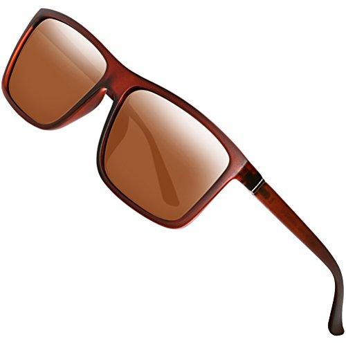 Polarized Sunglasses for Men Driving Mens Sunglasses Rectangular Vintage Sun Glasses For Men/Women Brown