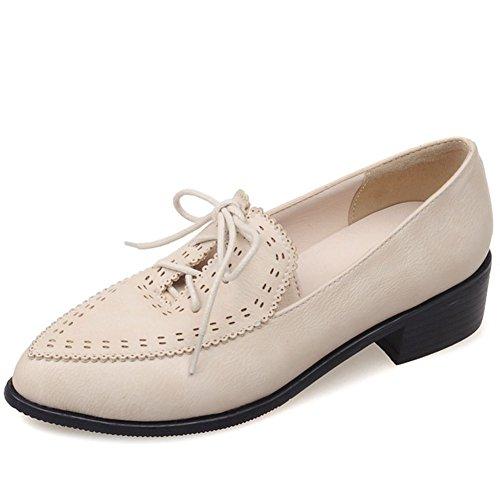 Low Up Flat Faux Shoes Decostain Oxford Office Heel Leather Lace Smart Beige Women's f64XY