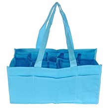SODIAL(R)Travel Outdoor Portable Baby Diaper Nappy Storage Insert Organizer Bag Tote,Blue