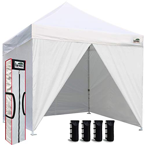 Eurmax 10 x 10 Pop up Canopy Commercial Tent Outdoor Instant Canopies Party Shelter with 4 Zippered Sidewalls and Carry Bag Bonus Canopy Sand Bags White