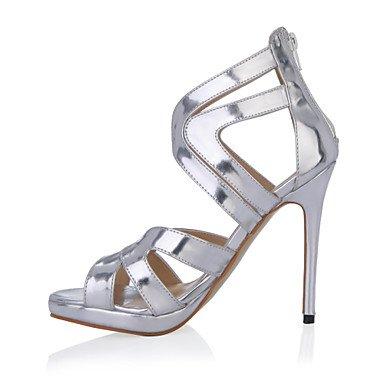 LFNLYX Sandalias de mujeres el consuelo de verano PU Parte & vestido de noche Stiletto talón plata Silver