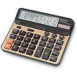 Desktop Calculator, Large Computer Keys, 12 Digits Display, Champaign Gold Color Panel