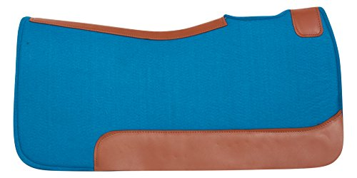 (PREMIUM BLUE ORTHOPEDIC GEL INFUSED WOOL FELT WESTERN PLEASURE NON SLIP HORSE SADDLE PAD LEATHER TRIM (HORSE))