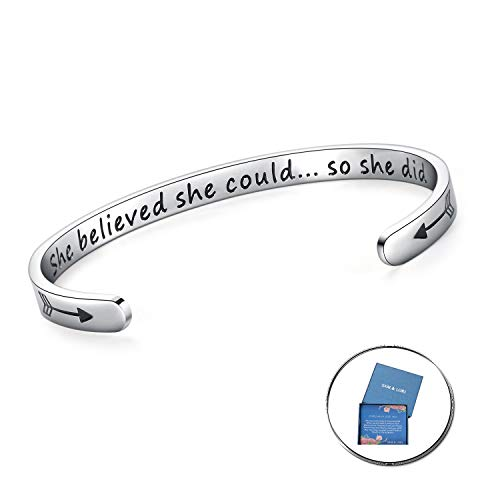 Birthday Gifts Runners - Inspirational Bracelet Cuff Bangle Mantra Quote Keep Going Stainless Steel Engraved Motivational Friend Encouragement Jewelry Gift for Women (Hidden message-She believed she could so she did)