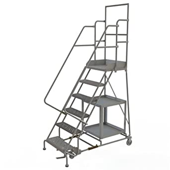 Peachy Tri Arc Kdsp106242 6 Step Stock Picking Industrial Warehouse Steel Rolling Ladder With Grip Strut Tread Squirreltailoven Fun Painted Chair Ideas Images Squirreltailovenorg